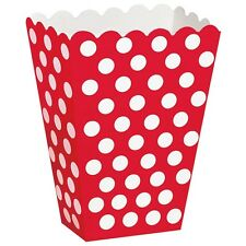 8 Red White Polka Dot Spot Style Party Paper Loot Treat Favor Bags Boxes