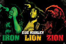 Bob Marley Poster! Iron Lion Zion Rasta colors Island Records Catch A Fire New