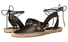 New Belle by Sigerson Morrison Maia Black Leather Flat Sandals, Sz 6M