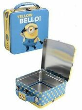 "DESPICABLE ME MINIONS TIN TOTE KIDS LUNCH BOX YELLOW BELLO WITH HANDLE 6"" X 6"""