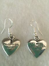 "Cute New Tibet Silver ""Made With Love"" Engraved Heart Charm Dangle Drop Earrings"