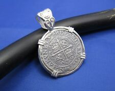 Sterling Silver Spanish Atocha Treasure Replica Coin Pendant with Fancy Bail