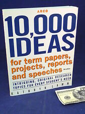 Study Aid Book 10,000 Ideas for Term Papers Projects Reports Speeches Lamm