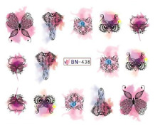 Nail Art Decals Transfers Stickers Lace Butterflies (DB438)