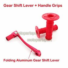 Red Aluminum Gear Shift Lever Throttle Grips 50-125cc Dirt Pit Bike ATV Scooter