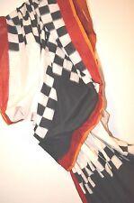 IKAT Designer 100% Cotton STRIPE Check COLOR Block Red Black Sari Saree NEW