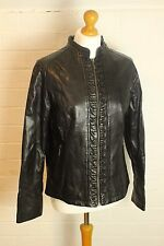 LAKELAND Black Fine Leather JACKET / COAT - Size 16