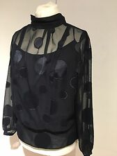 Karen Millen BNWOT Spot Sheer Blouse Top UK 16 £125