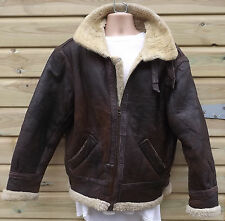 Vintage Brown Sheepskin B3 Leather Flying / Bomber Jacket - L