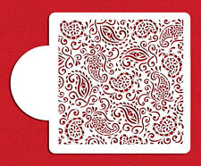 Paisley Henna Patterns Cake Top Cupcake Stencil Flexible Cookie Stencil (6 inch)