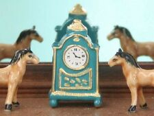 dolls house blue coloured mantel clock---1:12 th scale---