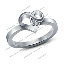 Women Luxury Lovely 925 Silver Finger Band Crystal Heart Shape Love Women's Ring