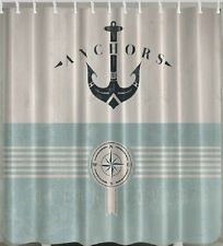 Anchor Compass Sea Fabric SHOWER CURTAIN Lover Nautical Ship Ocean Boat Decor