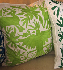 "LIME GREEN EMBROIDERED Otomi Indian Pillow Cover 20 x 20"" FAB!!  Best Made"