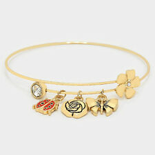 Butterfly Charm Bangle Bracelet Ladybug Flowers Expandable Wire Fashion Jewelry