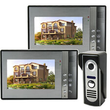"7"" Wired Video Door Phone Intercom Doorbell 2 Monitors 1 CCD Camera Night Vision"