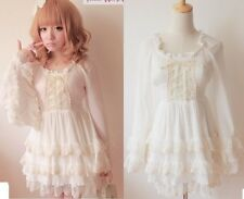 Kawaii Cute Sweet Dolly Gothic Lolita Princess Sleeve Chiffon cake Dress White