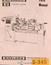 Sheldon 3 Turret Lathe, Instructions Manual Year (1967)
