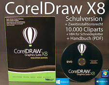Corel Draw Graphics Suite X8 Vollversion Box + CD, Cliparts VBA Schulversion NEU