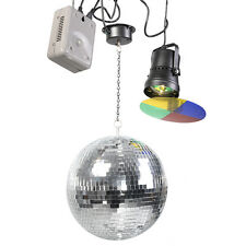 "12"" Mirror Disco Ball DJ Stage Party Motor LED Light Kit Rotating Spotlight"