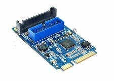 Mini PCI-Express to USB 3.0 19pin Header Card with Dual Type-A Femal Ports Cable