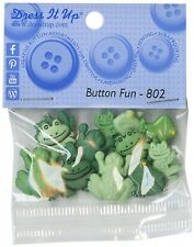Green Frog Toad Frogs Buttons Dress It Up (12 Frogs Per Package) Button Fun #802