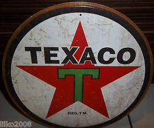 "TEXACO 1936 LOGO,  VINTAGE-STYLE ROUND 12"" METAL WALL SIGN.OIL/PETROL/GAS/USA"