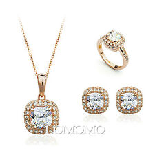 18K Rose Gold Plated Large Crystal Cushion Cut Set Made with Swarovski Crystals