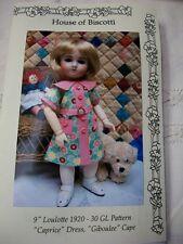 """9"""" Loulotte  Pattern,""""Caprice"""" Dress, Undies, Cape  Bleuette Friend"""