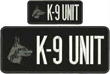 K-9 UNIT EMBROIDERY PATCH  4X10 AND 2X5hook on back  white