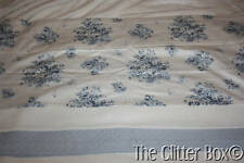 Shabby Cottage Chic Curtain Valance Blue Roses Quilted JCPenny 84 x 21 B6