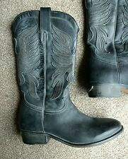 "ZADIG & VOLTAIRE Black / Grey 100% Leather ""Eagle"" Cowboy Boots UK 4 EU 37"
