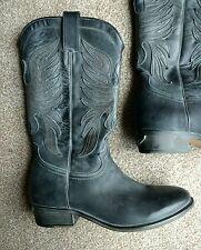 """Zadig & voltaire noir/gris 100% cuir """"eagle"""" cowboy boots uk 4 eu 37"""