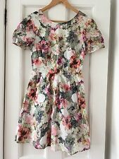 Oasis Floral Skater Dress UK 8 Cut Out Cross Back Mini Grey Pink Flower Print