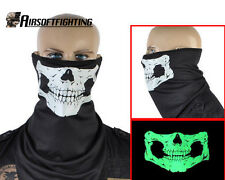 Tactical Glow Skull Polyester&Cotton Half Face Mask/Neck Warmers Black A