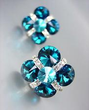 EXQUISITE Teal Blue Czech Crystals Bridal Prom Pageant Queen CLIP Earrings