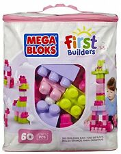 Mega Bloks Buildable Bag PINK (60 Pieces) Babys First Builders Large Blocks NEW