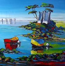 Grand Format Art JP DOUCHEZ Peinture huile sur toile au couteau Drouot Bretagne