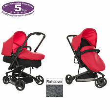 NEW OBABY MARS RED BLACK CHASE 3 WHEEL PRAMETTE PUSHCHAIR / PRAM WITH RAINCOVER