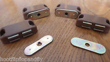 4 SMALL MAGNETIC DOOR CATCHES BROWN  CUPBOARD WARDROBE CABINET CATCH HB599-02