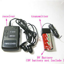 F908 Wireless transmitter receiver mini Covert FM Audio Listening Device Ear spy