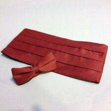 Cummerbund & Bow Tie Set Burgundy Satin-Look Unisex Tux Cumberbund Tie Combo NEW