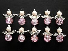 10x Pink Handmade Guardian Angel Charms Pendants Crackle Round Beads Wings