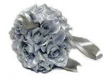 FLOWER BALLS ~ SILVER Pewter Mercury Kissing Ball Wedding Flowers Decor Pew Bows