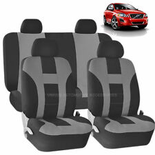 GRAY & BLACK DOUBLE STITCH SEAT COVERS 8PC SET for VOLVO C30 S40