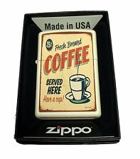 Zippo Custom Lighter 1950's Vintage Hot Dog Poster Regular Cream Matte