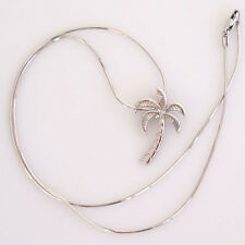 """Beautiful Estate Solid 14k White Gold Palm Tree Necklace with 18"""" Snake Chain"""