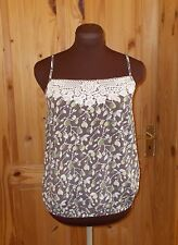 MONSOON brown cream green crochet lace trim camisole vest tunic top 8 36 holiday