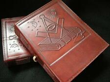 Small Handmade Leather MASONIC Journal Diary Notebook -  Symbols of Freemasonry