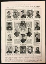 March 20th 1915 Newspaper Illustration, Officers Killed In Action, WW1